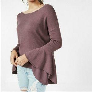 Mauve bell sleeve Express sweater